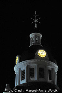 Kingston City Hall Cupola at night