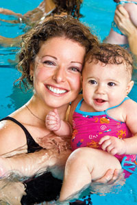 Mother & baby swimming