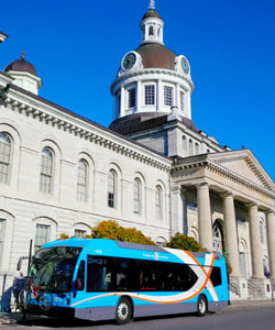 Bus in front of City Hall
