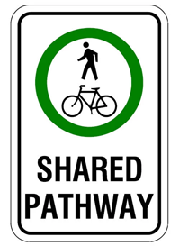 Shared use pathway sign
